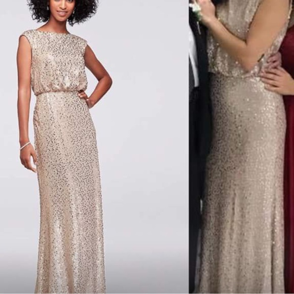 b86f8e9a David's Bridal Dresses | Long Sequin Blouson Dress Gold | Poshmark
